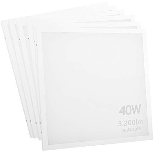 6x Pannelli LED 2in1 Incasso o Sospensione 40W 60x60cm - Luce Bianco Naturale 4000K - Fascio Luminoso 120°