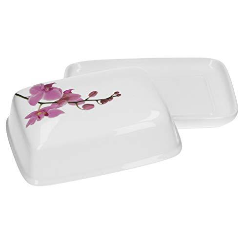 Van Well Butterdose mit Deckel Kyoto 17.5 x 13 x 5.5 cm weiß mit Blumen-Dekor Orchidee Porzellan Geschirr