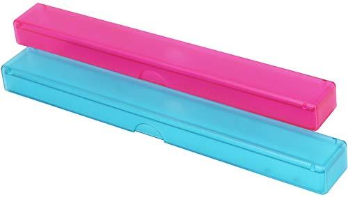 com-four® 2X Zahnbürsten-Etui, Transport- und Aufbewahrngsbox für Hand-Zahnbürsten in blau und pink, 20 cm (20 cm - 02 Stück blau + pink)