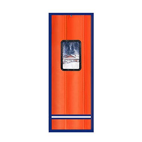 Warmome Thermo-isolierter Türvorhang, dick, magnetisch, Baumwolle, für den Winter, wärmeisoliert, mit transparentem Fenster, Winddicht, schalldicht, Trennwand, Oxford, Orange, 80x250cm(31x98inch)