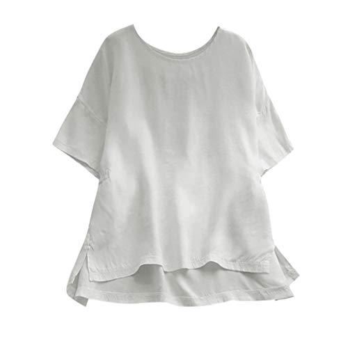 Younthone Baumwolle und Leinen T-Shirt Frauen Kurzarm Bluse aus mit rundem Hals Tops(Weiß,4XL)