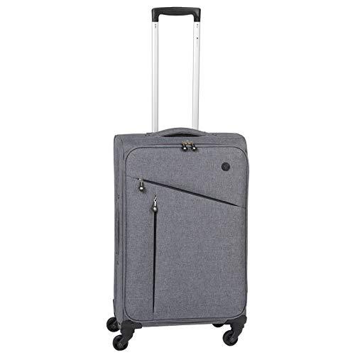 CHECK.IN Lissabon Trolley Stoffkoffer Polyester 4 Rollen Filzoptik Handgepäck Medium Large Koffer-Set (M/70cm)