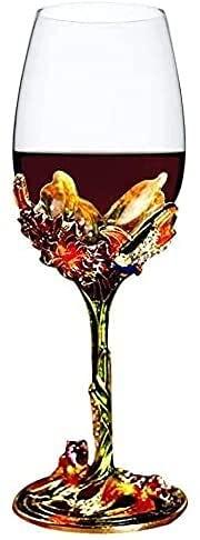 Rood/wit wijnglas, ideaal cadeau voor vrouwelijke moeders en vrienden op Moederdag (groen), met de hand geschilderd emaille bloem gin wijnglas met lange handgreep kristal Wijnglas (Color : Green)