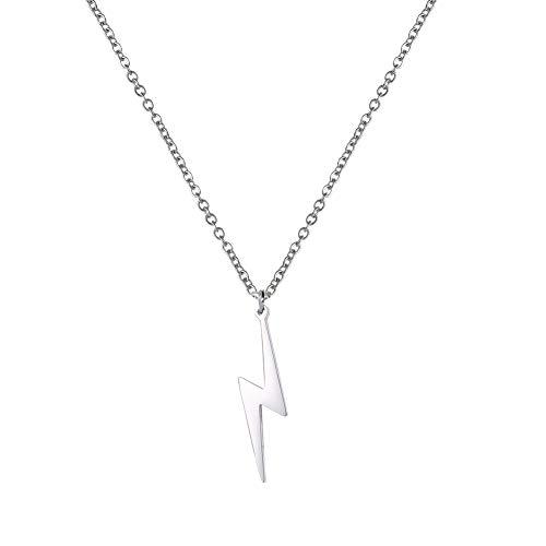 Amaxer Lightning Bolt Necklace Thunder Minimalist Pendant Flash Lightning Bolt Unisex Jewelry Charm Inspirational Gift (Flash)