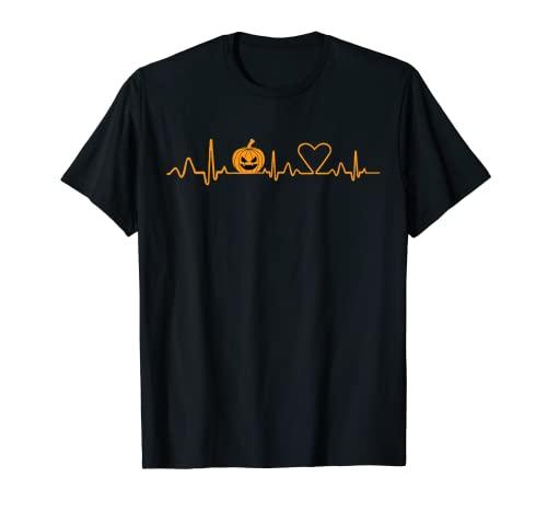 Calabaza Heartbeat Halloween corazn EKG ECG Beat Monitor Camiseta