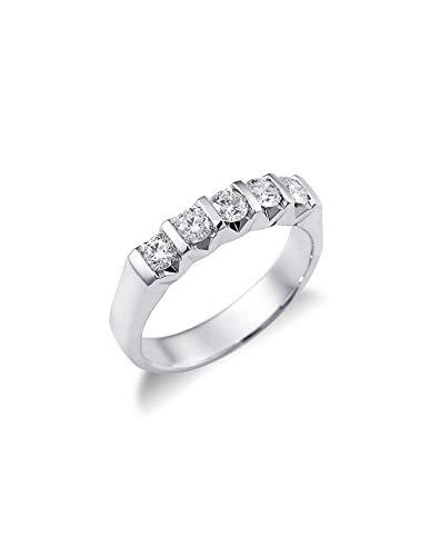 Gioielli di Valenza - Anello Veretta a 5 pietre in Oro bianco 18k con diamanti ct. 0,60 - FE5RS060BB - 8
