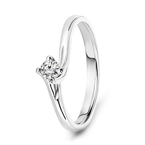 Miore Anello Donna Solitario con Diamante taglio Brillante Ct. 0.12 in Oro Bianco 18 Kt 750, Anello realizzato a mano da maestri Orafi di Valenza PO