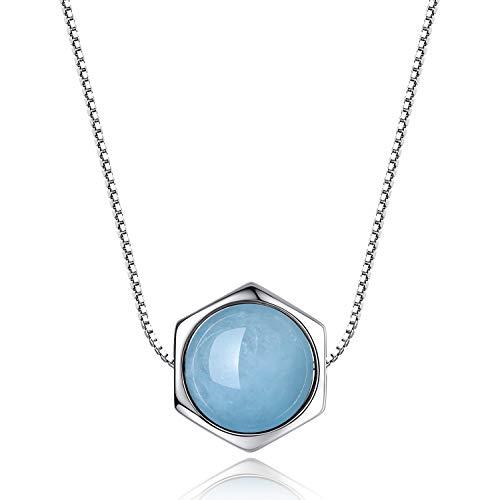 COAI Collar para Mujer de Plata de Ley con Colgante Hexagonal de Aguamarina