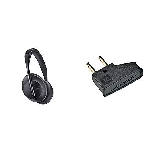 Auriculares inalámbricos Bluetooth Bose Noise Cancelling Headphones 700, con Control por Voz de Alexa, Negro + Bose QuietComfort 3 - Adaptador para avión