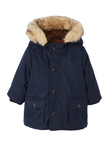 Vertbaudet Jungen Baby Winterjacke mit Kapuze, Teddyfleece Nachtblau 62