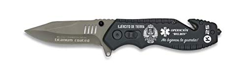 K25 - RUI Knives Navaja con rompecinturones Ejercito DE Tierra y OPERACIÓN BALMIS con Hoja de Acero INOX de 8 cm y empuñadura de Aluminio de 12 cm + Portabotellas de Regalo