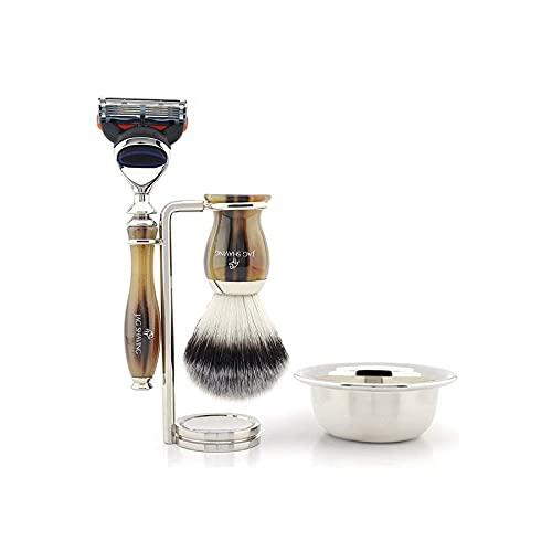 Set de afeitado clásico para hombres: brocha de afeitar de pelo sintético, soporte para brocha de afeitar, cuenco