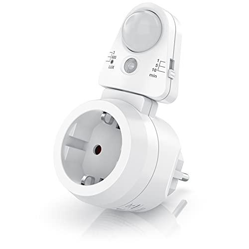 Bearware – Enchufe con Detector de Movimiento - Sensor de luz PIR - Temporizador Digital - Interruptor de Brillo con 3 Niveles Ajustables - 10A, 2300 W - Bajo Consumo - Giración 180° - Color Blanco