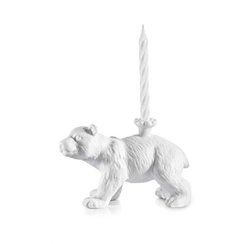 DONKEY Products Happy Zoo Day Knut, Kerzenständer Bär, inkl. 4 Kerzen, Porzellan, Weiß, 14 cm, 210792