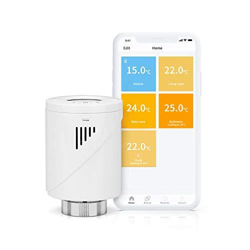 meross Smart WLAN Heizkörperthermostat, benötigt Hub, LCD-Anzeige, Intelligenter Programmierbar Heizungsthermostat für Einzelne Räume, Kompatibel mit Alexa, Google Assistant und IFTTT, weiß