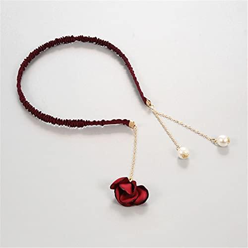 jiarun Pendientes de perlas de imitación de flores para mujer, accesorios para el pelo, diadema, pendientes colgantes para la cabeza (color: borgoña)
