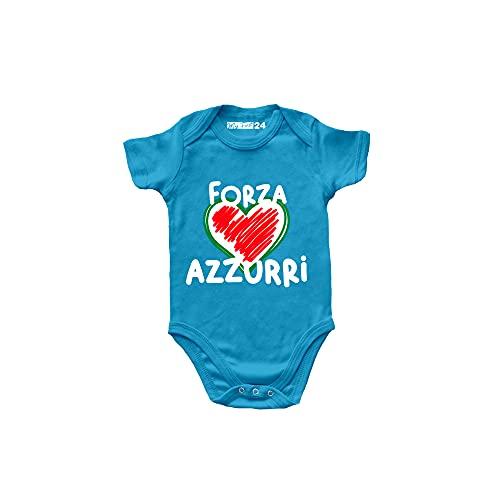 My First 24 Body Neonato Italia Manica Corta - Forza Azzurri Cuore Bandiera Italiana - Body Bambino Europei 2020 Unisex 100% Cotone Traspirante - Body Regalo Nascita Bimbo - 6 Mesi