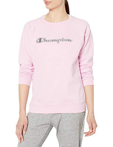 Champion Women's Powerblend Boyfriend Crew Sweatshirt, Beloved Orchid - Applique, X Large