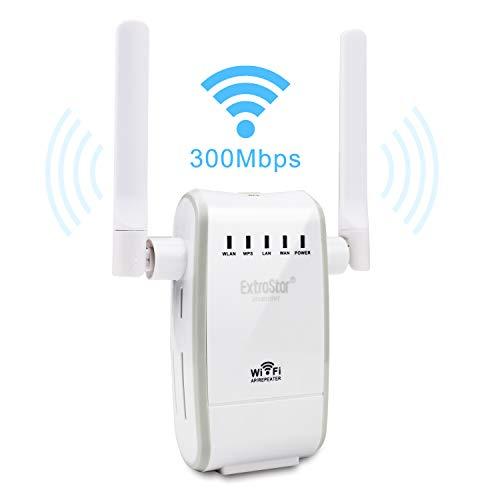 EXTRASTAR WiFi Wireless Router 300Mbit/s 2.4GHz Range Extender con 2 Antenne Esterna Mini Segnale Amplificatore Internet Bosster Compatibilità Universale Tutto Il Modem e Il Router