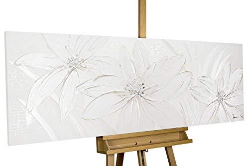 Kunstloft® Cuadro acrílico 'Frozen Flowers' 150x50cm | Original Pintura XXL Pintado a Mano en Lienzo | Abstracto Estampado Flores Blancas | Mural acrílico de Arte Moderno en una Pieza con Marco