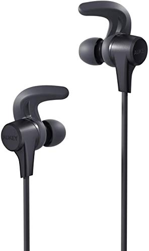 Wireless Earbuds, AUKEY Bluetooth Headphones with Enhanced Bass, Sweat-Resistant, 8-Hour Battery Life, Built-in Mic, Secure Fit Sports Earphones