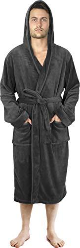 NY Threads Herren Morgenmantel aus Fleece mit Kapuze - Plüsch und Kuscheliger Bademantel für Männer (Large, Dunkelgrau)