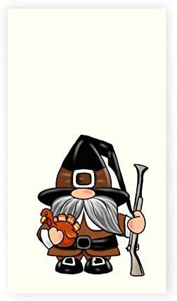 Thanksgiving Pilgrim Gnome Print Kitchen Bath Hand Towel Tea Towel Thanksgiving Decor product image