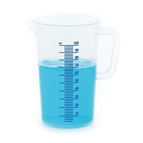 LICARGO® Messbecher 100ml - feine Skala zum genauen Dosieren kleiner Mengen - Einsetzbar als Dosierhilfe für Waschmittel, für die Autopflege und in der Küche zum Backen & Kochen - Lebensmittelecht