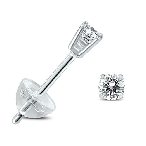 Diamond Solitaire Stud Earrings in 14K White Gold with Silicon Backs (.04-.65 Carat TW) (0.04 Ct Tw Diamond)