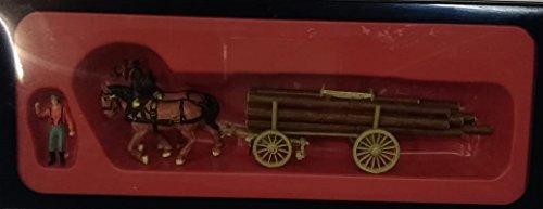 Preiser 30465 cavalli che trainano carro con legname scala 1/87