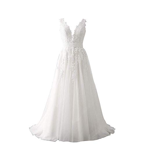 Abaowedding Women's Wedding Dress for Bride Lace Applique Evening Dress V Neck Straps Ball Gowns White US 18 Plus