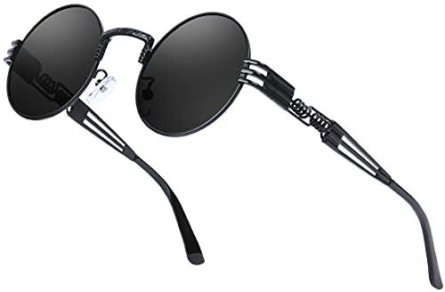 AMZSPORTRund Polarisierte Sonnenbrille Steampunk Retro Sunglasses mit UV400 Schutz für Herren und Damen, Schwarzer Rahmen Schwarze Linse