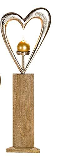 GILDE Leuchter Herz - aus Aluminium auf Holzsockel silber-braun Höhe 85 cm