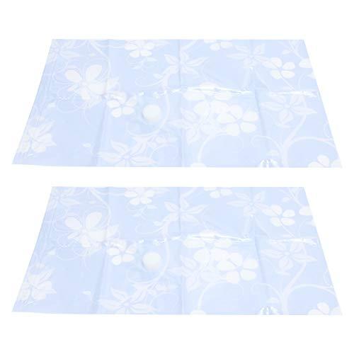 LANTRO JS - Bolsa de almacenamiento al vacío de 2 piezas con clip de sellado, manta de viaje transparente para ropa, bolsa comprimida al vacío(40 * 60cm)