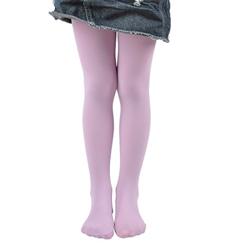 Leg Elegant Girls Microfiber Soft Opaque Solid Colored Footed Tights (11-13, Light Purple)