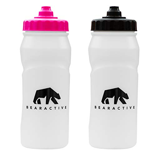 Bearactive 2 x Running Bottle Lightweight 500 ml Handheld Sports Water Bottles with Valve Sprout - BPA Free Plastic and Leak Proof - Runners Hand Grip Bottle for Jogging, Hiking, Gym - Black & Pink