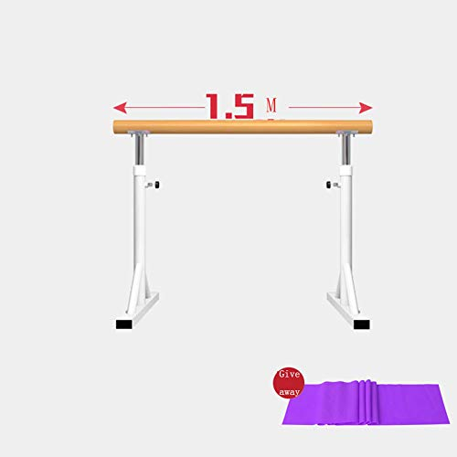 Traditional Real Wood Portable Double Freestanding, Ballet Barre for Adults and Kids Stretch Dance Fitness Bar, 80-120Cm Adjustable