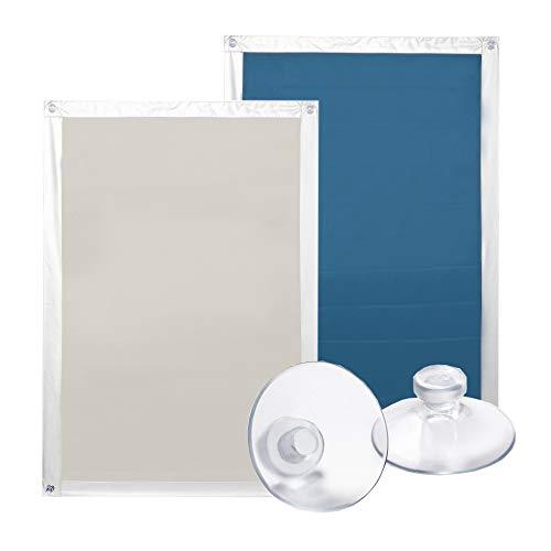 Lichtblick Dachfenster Sonnenschutz Haftfix in Beige, 59 x 91,5 cm, Thermorollo mit reflektierender Außenbeschichtung, ohne Bohren, mit Saugnäpfen für M06