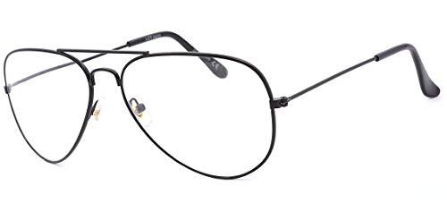 NEWVISION® - Gafas de lectura, gafas de vista para presbicia, montura de metal, estilo retro aviador, ref. NV8132 +2.00 Negro