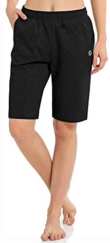 Women's Workout Lounge Bermuda Shorts - Gym Yoga Athletic Running Sweat Long Shorts with...