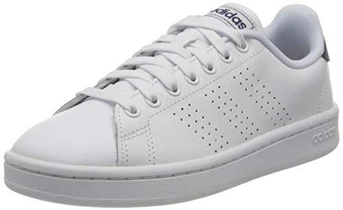 adidas Advantage, Sneaker Hombre, Footwear White/Footwear White/Dark Blue, 45 1/3 EU