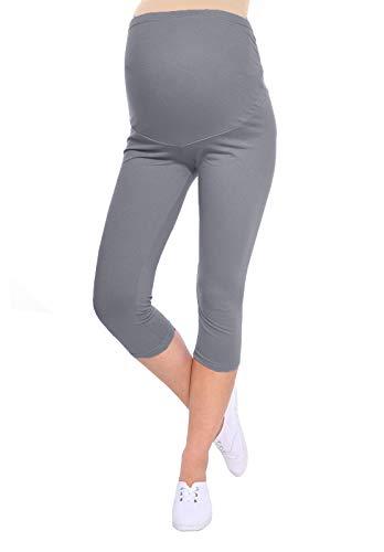 Oasi Mija Gute Qualität Umstandsleggings für Schwangere Capri 3/4 Leggings/Hose 3082 (L, Grau)