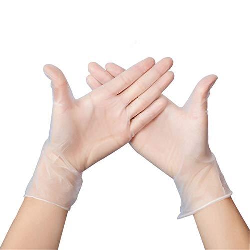 100 Stück klare Einweg-Vinylhandschuhe Dünne Comfort-PVC-Handschuhe, latexfrei, puderfrei, lebensmittelecht für den Lebensmittelservice, Reinigung, Geschirrspülen (L)