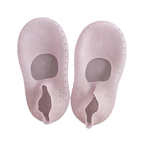 HEALIFTY 1 Paar flache Socken Silikon Ferse Anti-Trocknen Anti-Rutsch-Socke (Pink, 39-41)