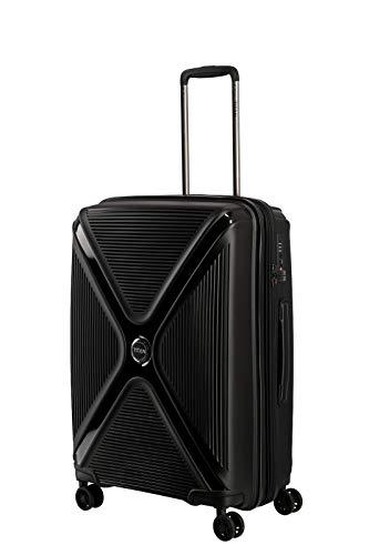 TITAN 4-Rad Koffer Hartschale mit Dehnfalte + TSA Schloss, Gepäck Serie PARADOXX: Hartschalen Trolley mit Akzenten in Leder Optik, 833405-02, 68 cm, 80 Liter (erw. auf 88 Liter), black (schwarz)