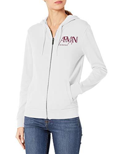 Armani Exchange AX Damen Zip Hooded Logo Sweatshirt, Optic White, X-Large