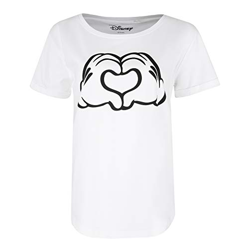 Disney Mickey Love Hands Camiseta, White, Medium para Mujer