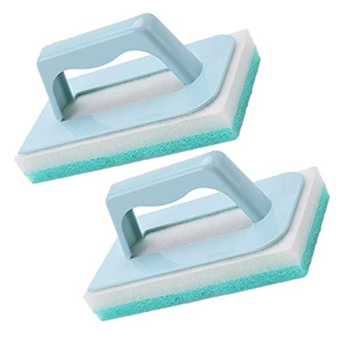 HEMOTON 2 Pinceles de Esponja de Descontaminación Potentes Cepillos de Limpieza de Cocina para Limpiar La Ducha Baño Cocina Bañera Grifo (Azul)