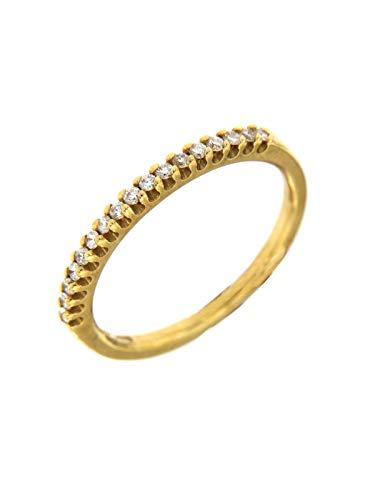 Alfieri & St.John Veretta in Oro Giallo 18 Kt Garantito con Diamanti Ct.0,17 Colore G Purezza VS Misura 13