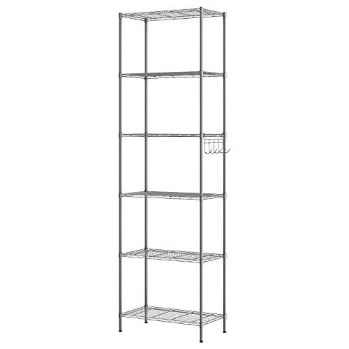 LEEDA 3-Tier Freestanding Multipurpose Storage Shelves Heavy Duty Metal Shelving Unit, Display Plants Flowers Bath Essentials, for Kitchen Bathroom Office, Black